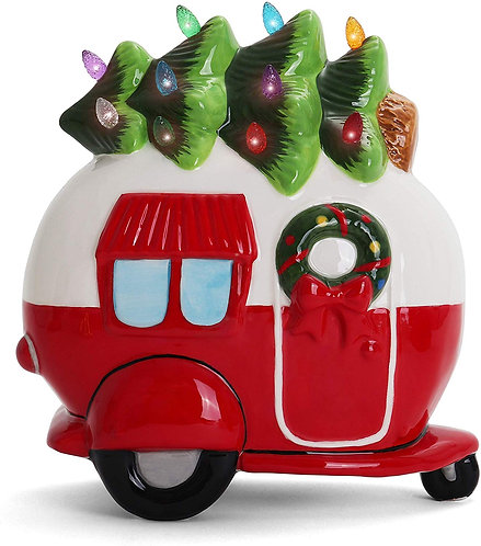 Ceramic Christmas Camper with Christmas Tree Lights Side View