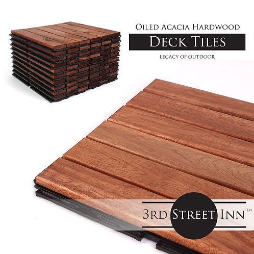 Oiled Acacia Straight Wooden Deck Tiles Stacked View