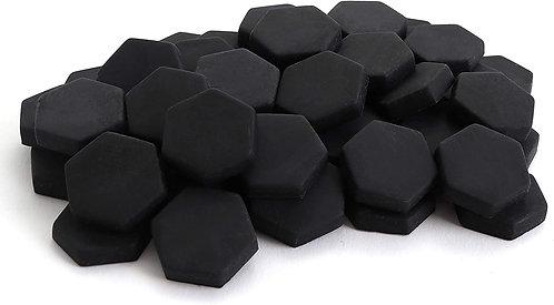 Hexagon Mosaic Tile Pieces - Obsidian - Matte - Front View