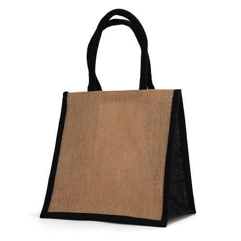 Medium Black Burlap Tote Bag