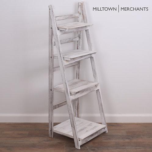 Distressed White Ladder Bookshelf Main View