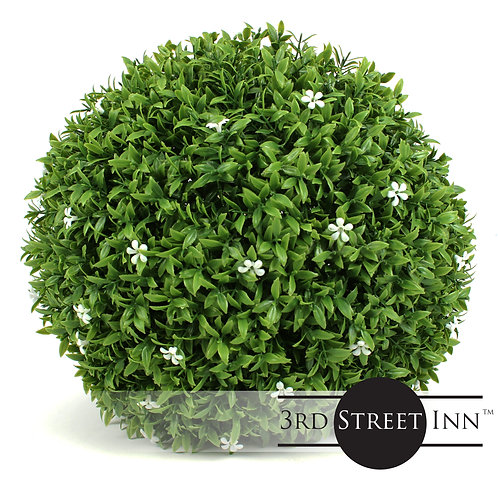 White Flower Medium Artificial Topiary Ball Main Image