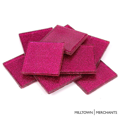 Hot Pink Glitter Tile 48mm