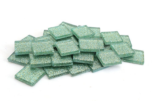 Mermaid Green Glitter Mosaic Tile - 3/4 Inch