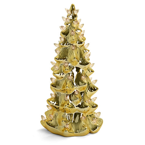 "13"" Gold Christmas Tree with Multicolored Lights"