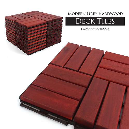 Clay Checkered Interlocking Deck Tiles Stacked View