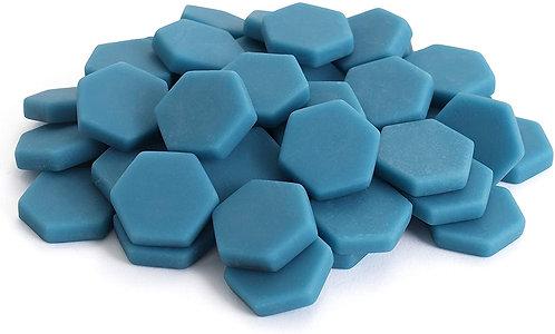 Hexagon Mosaic Tile Pieces - Cerulean Blue - Matte - Front View