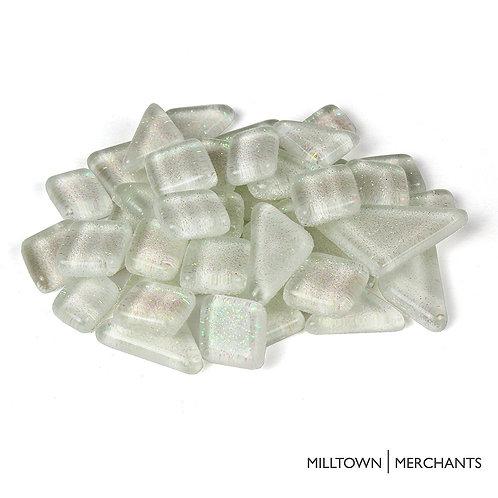 White Glitter Smooth Mosaic Tile