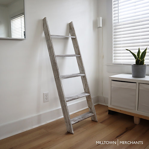 Milltown Merchants Blanket Ladder - Distressed White