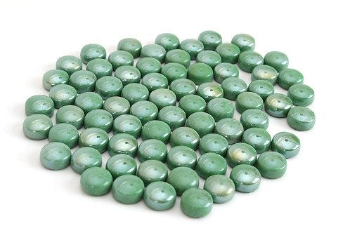 Iridescent Green Round 12 mm Mosaic Tile
