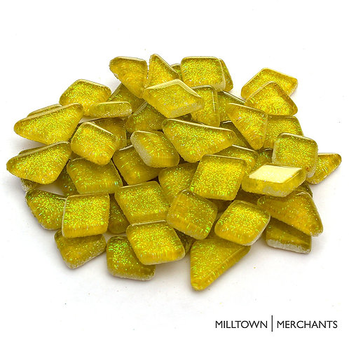 Sunny Yellow Glitter Smooth Mosaic Tile