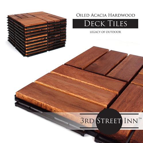 Oiled Acacia Checkered Deck Tiles