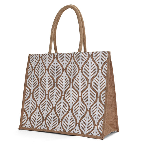 X - Large Leaf Burlap Tote Bag