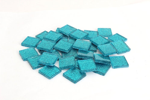 Mermaid Blue Glitter Mosaic Tile - 3/4 Inch