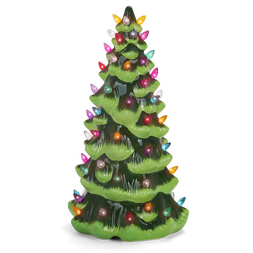 "13"" Green Christmas Tree with Multicolored Lights"