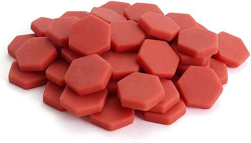 Hexagon Mosaic Tile Pieces - Vermilion - Matte - Front View