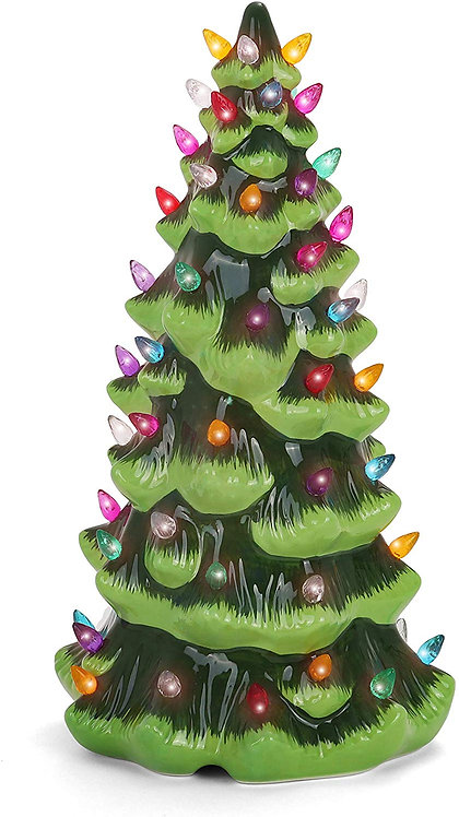 """13"""" Green Christmas Tree with Multicolored Lights Front Lighted View"""