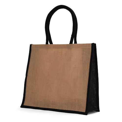 Large Black Burlap Tote Bag