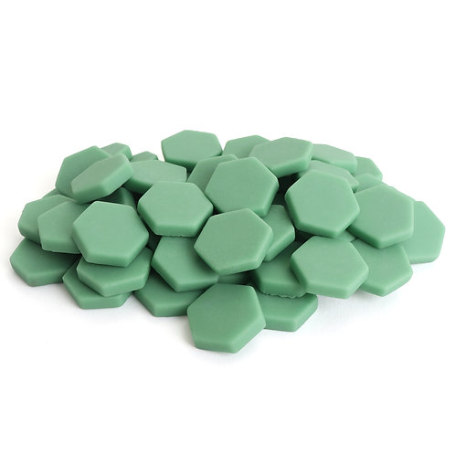 Hexagon Mosaic Tile Pieces - Mint Cookie - Matte - Front View