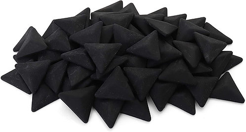 Triangle Mosaic Tile Pieces - Obsidian - Matte - Front View