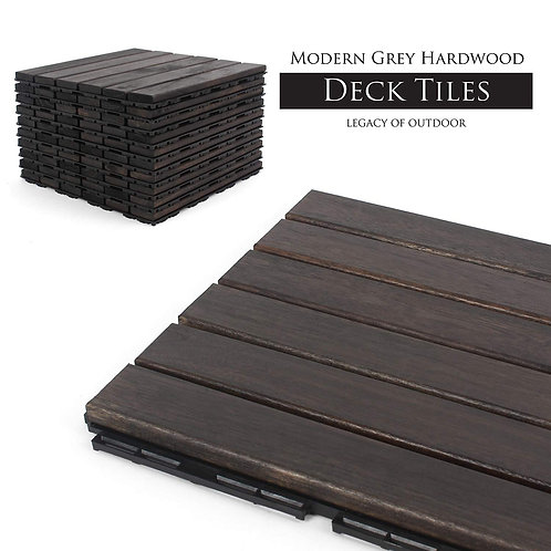 Ebony Straight Wood Decking Tile Main View