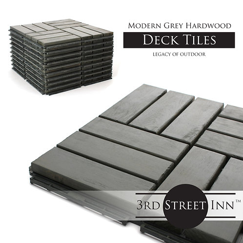 Modern Grey Checkered Wood Decking Tiles Front View
