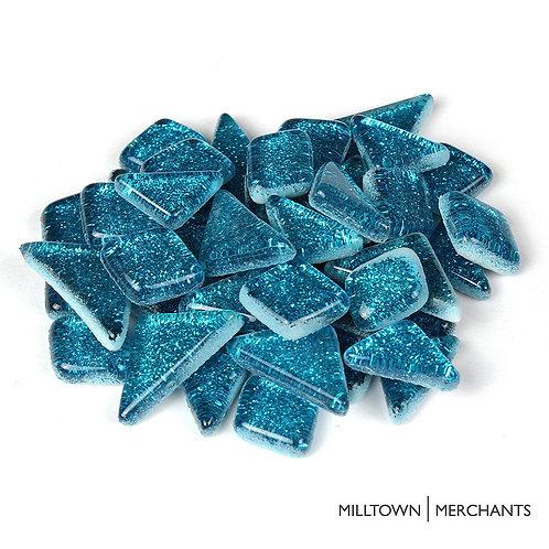 Mermaid Blue Glitter Smooth Mosaic Tile
