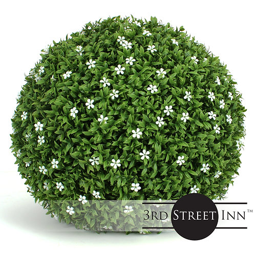 White Flower Artificial Topiary Ball Main Image