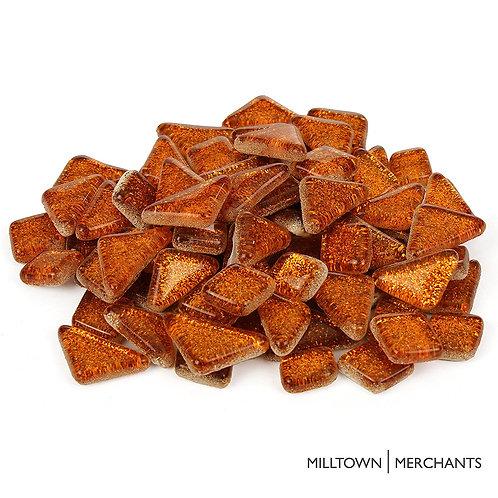 Orange Glitter Smooth Mosaic Tile