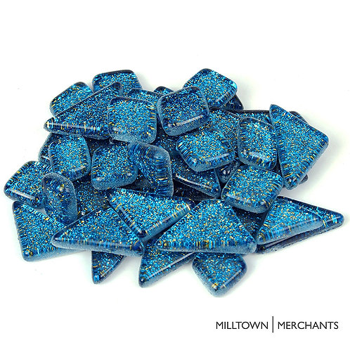 Dark Blue Glitter Smooth Mosaic Tile