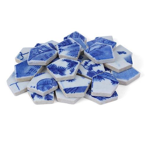 Blend #4 Blue and White Porcelain Mosaic Tile