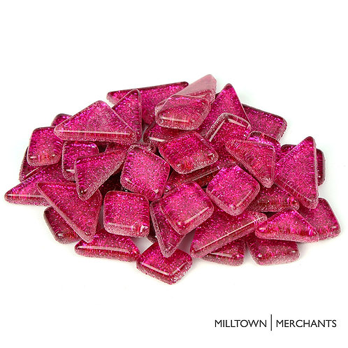 Hot Pink Glitter Smooth Mosaic Tile