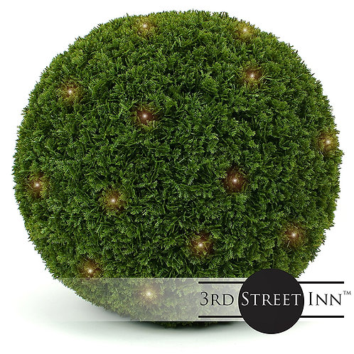 XL Cypress Lighted Fake Topiary Ball Front View