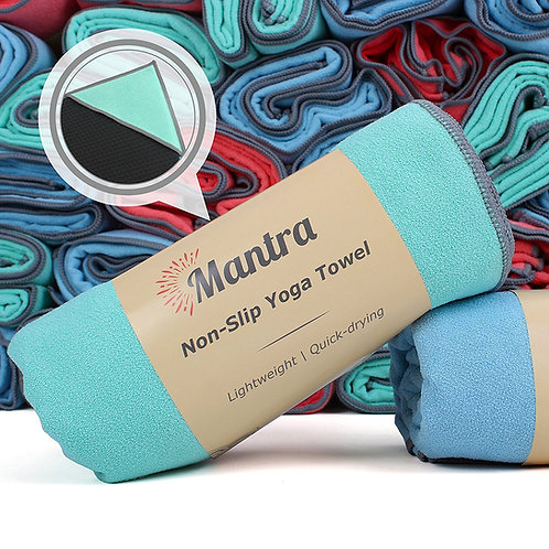 Seafoam Mantra Non-Slip Yoga Towel with Anchor Fit Corner Pockets