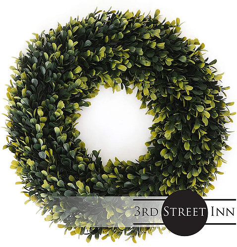 Golden Boxwood Wreath Large Front View