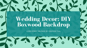 artificial boxwood wedding photo backdrop title