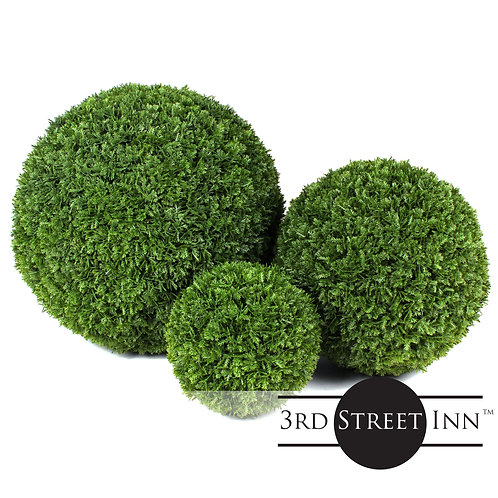 Cypress Artificial Topiary Ball Assortment Front View