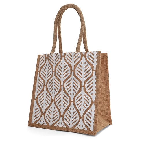 Medium Leaf Burlap Tote Bag
