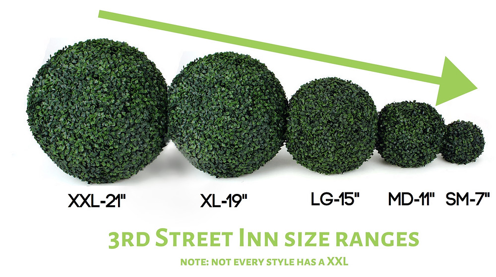 artificial topiary ball sizes blog post graphic