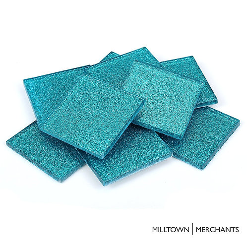 Mermaid Blue Glitter Tile 48mm
