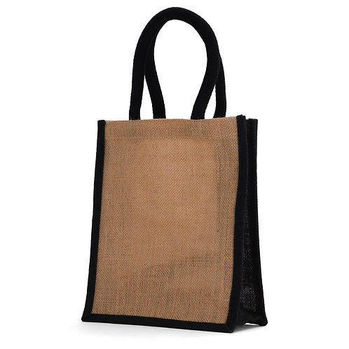 Small Black Burlap Tote Bag