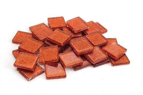 Orange Mosaic Glitter Tile - 3/4 Inch