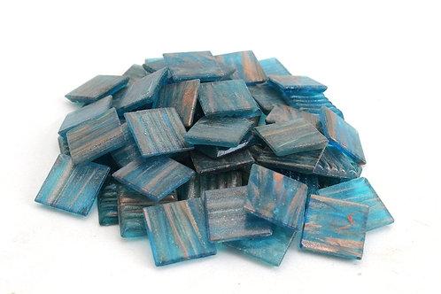 Blue Gold Streak Mosaic Tile