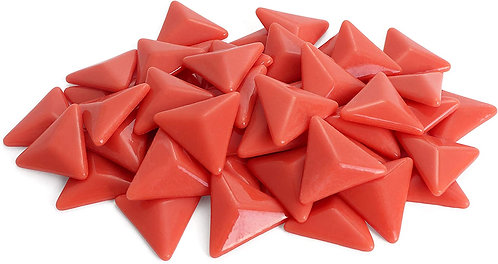 Triangle Mosaic Tile Pieces - Vermillion - Glossy - Front View