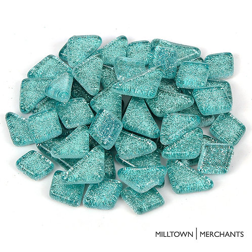 Light Mermaid Blue Glitter Smooth Mosaic Tile