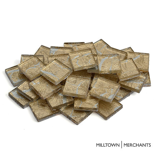 Gold-Veined Silver Foil Tile 20mm