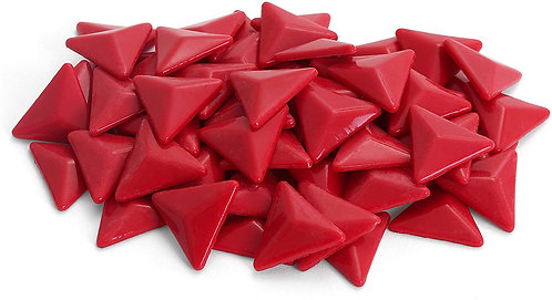 Triangle Mosaic Tile Pieces - Raspberry - Glossy - Front View