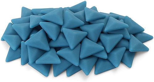 Triangle Mosaic Tile Pieces - Cerulean Blue - Matte - Front View