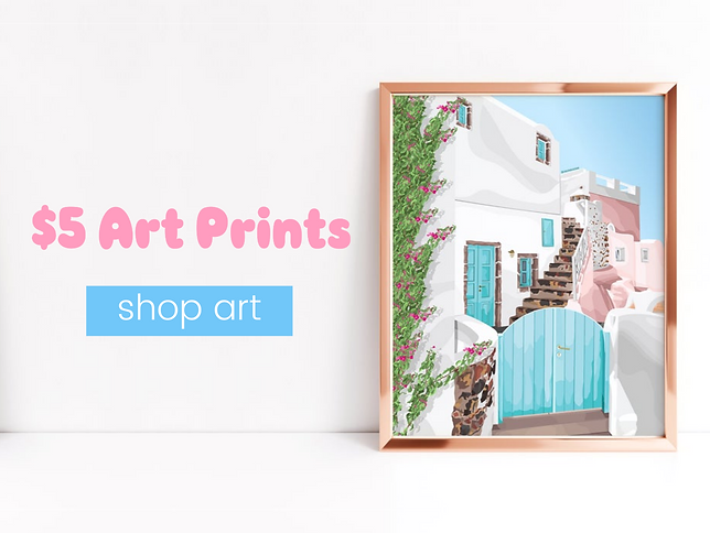 Mykonos, Greece art print in a rose gold frame on a white wall. Link to shop art prints.