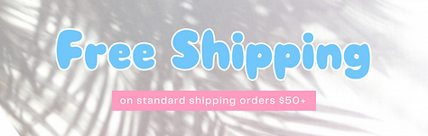 Free Shipping listed against a white background with palm tree shadow. Link to shipping policies.